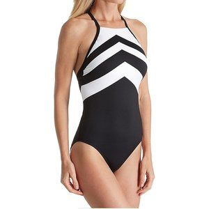Chevron High Neck Logo Back Swimsuit 14